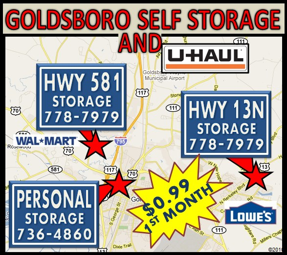 Map of Goldsboro North Carolina Self Storage Locations